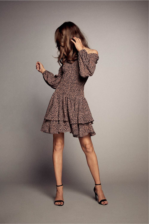 LUCIENNE FRILL DRESS in colour CAVIAR