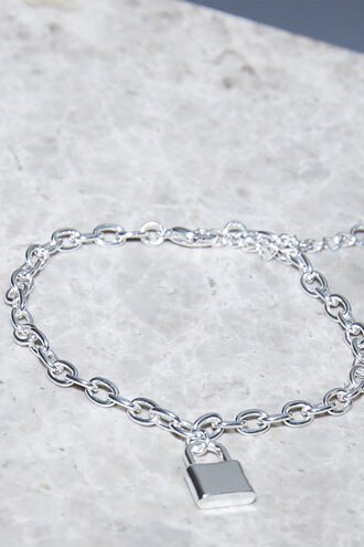 CHUNKY PAD LOCK BRACELET in colour SILVER