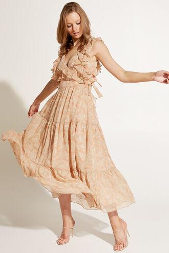 SIMONA FLORAL DRESS in colour CREAM TAN
