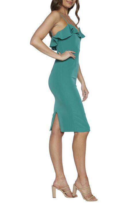 ROSSA FRILL DRESS in colour GREENLAKE