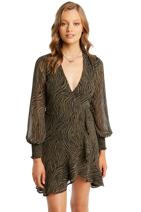 ZEBRA WRAP DRESS in colour METEORITE