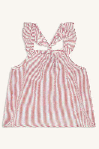 CANDY STRIPE TOP in colour CRANBERRY