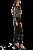OPIA LACE BODYSUIT in colour DARK GREEN