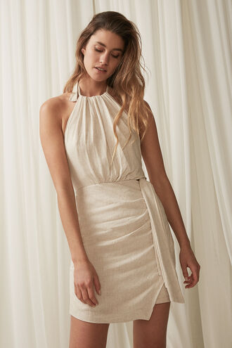 GODDESS HALTER DRESS in colour FOG