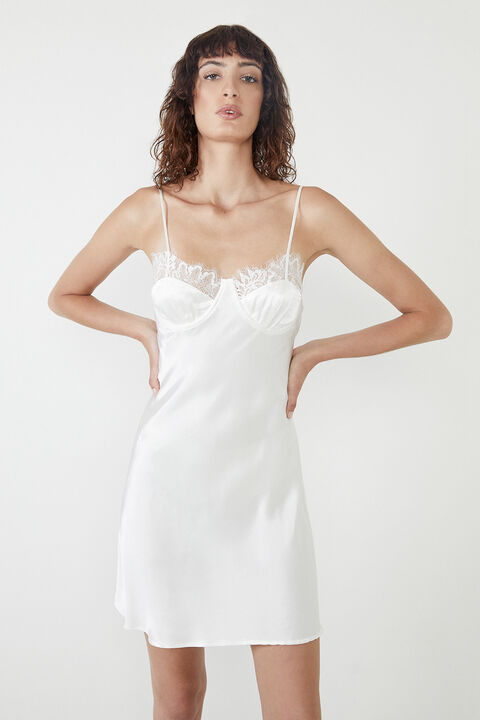 LACE INSERT MINI SLIP DRESS  in colour CLOUD DANCER