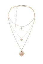 TRIPLE HIGH NECKLACE in colour GOLD EARTH