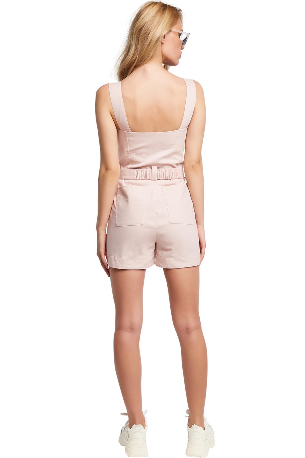 BUCKLE SHORT PLAYSUIT in colour SILVER PEONY