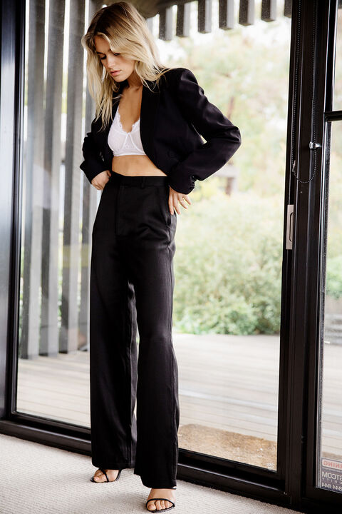 BOBBI WIDE LEG PANT in colour CAVIAR