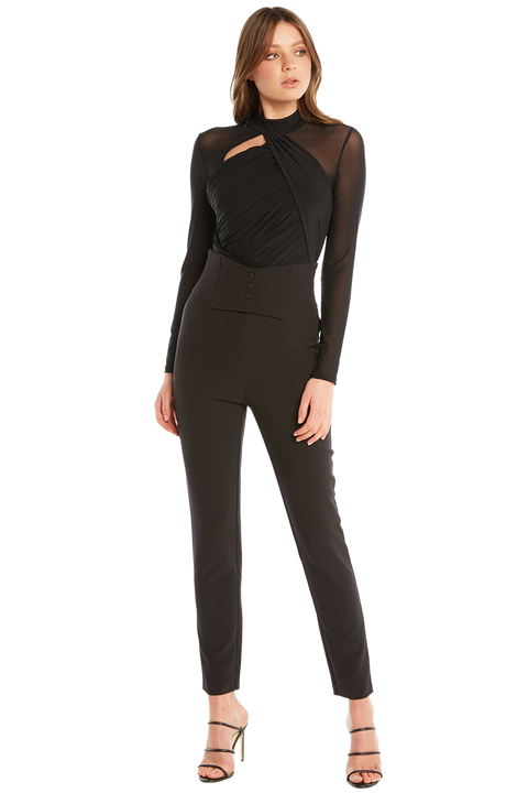 DRAPED BODYSUIT in colour CAVIAR