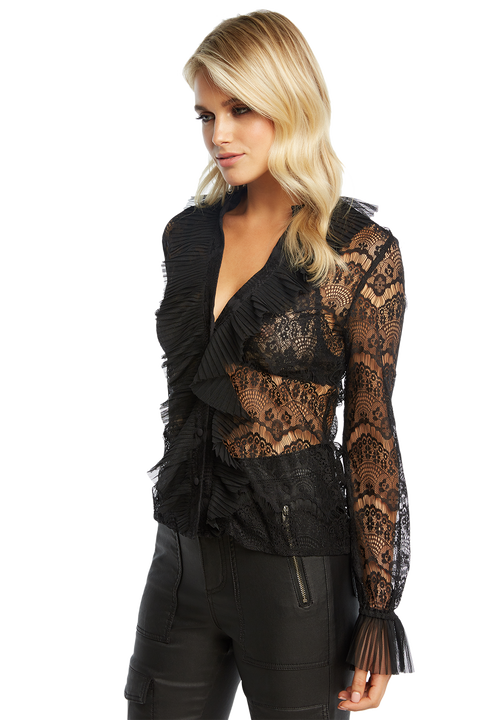 MEGHAN LACE BLOUSE in colour CAVIAR