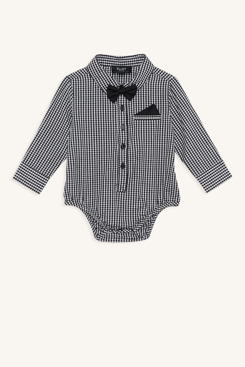 BABY BOY GINGHAM SHIRT GROW in colour CLOUD DANCER