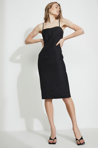 STRAIGHT MIDI DRESS in colour CAVIAR