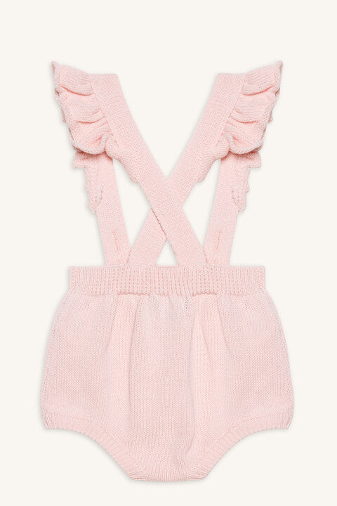 KNIT FRILL OVERALL in colour HEAVENLY PINK