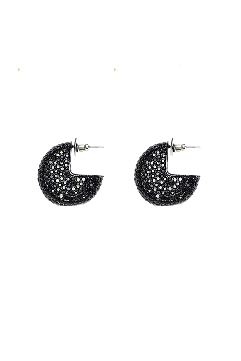 CRYSTAL HIGH HOOP EARRINGS in colour METEORITE