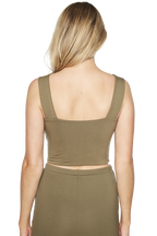 MIMI CROP TOP in colour BURNT OLIVE