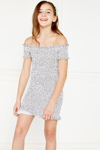 NICKY SHIRRED DRESS in colour CLOUD DANCER