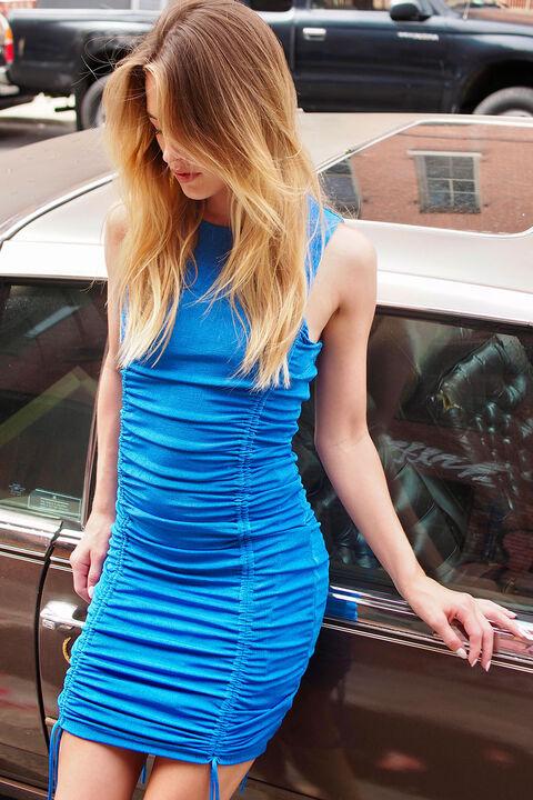 BREEZE MINI RUCHED DRESS in colour BRIGHT COBALT