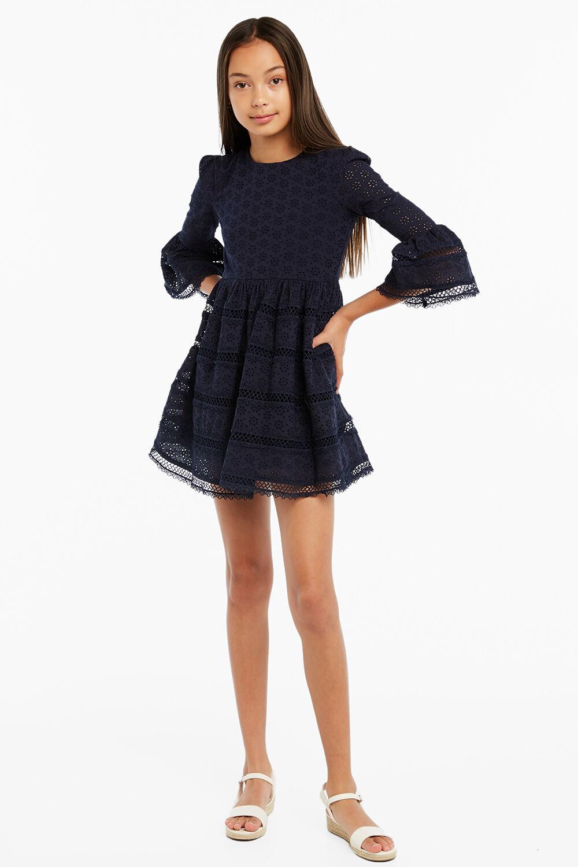 SELMA TRIM DRESS in colour MARITIME BLUE