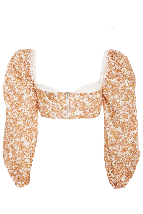 PAISLEY TOP in colour AMBER BROWN