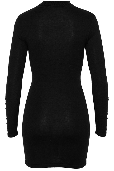 ROLL NECK KNIT DRESS in colour CAVIAR
