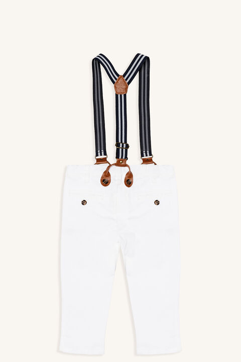BASIC CHINO PANT WITH BRACES in colour BRIGHT WHITE