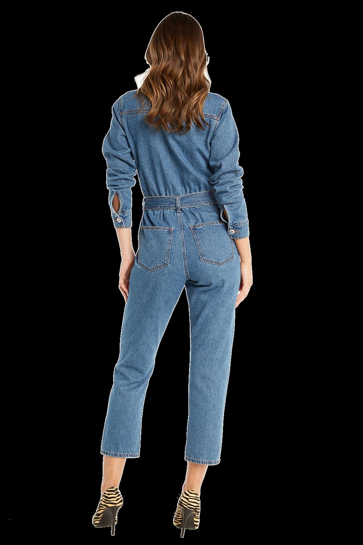 CLASSIC DENIM JUMPSUIT in colour DUSTY BLUE