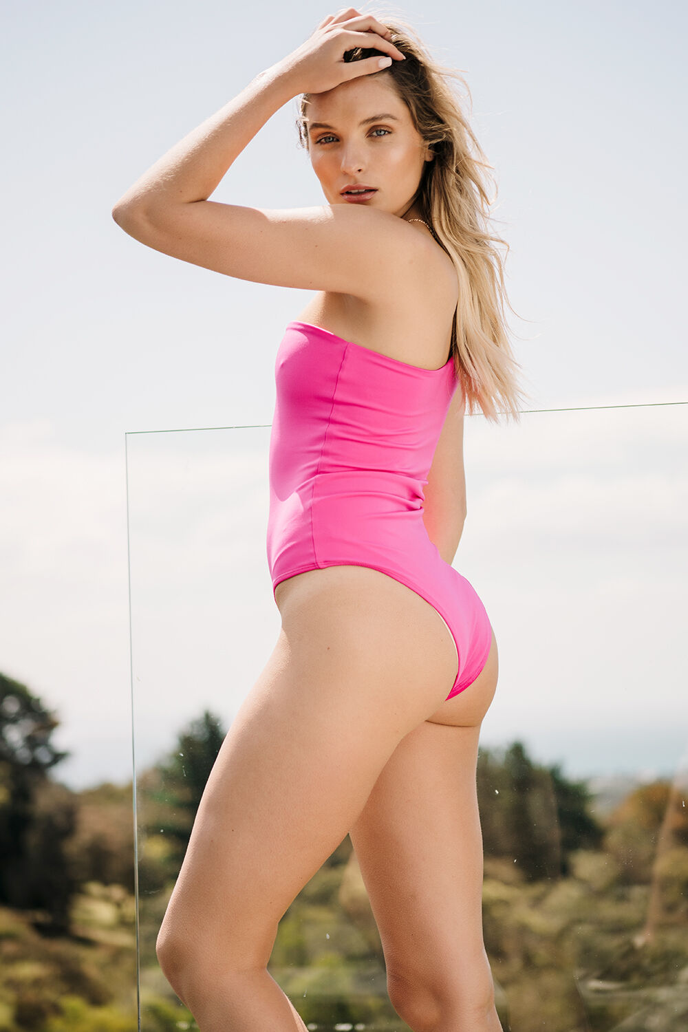 MELANIE BODYSUIT in colour SHOCKING PINK