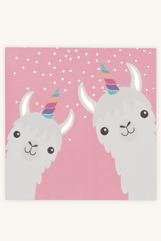 LUCKY LLAMA GIFT CARD in colour VEILED ROSE