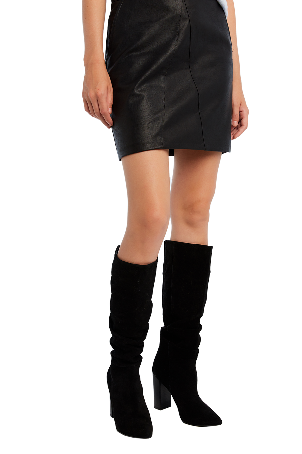 RUCHED KNEE BOOT in colour METEORITE