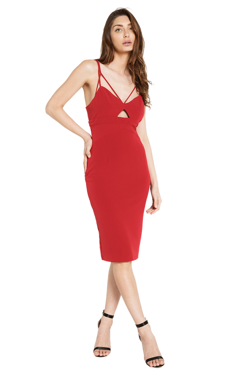 CUTAWAY DRESS in colour RIO RED