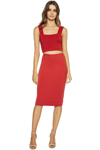 MIMI CROP TOP in colour CRIMSON