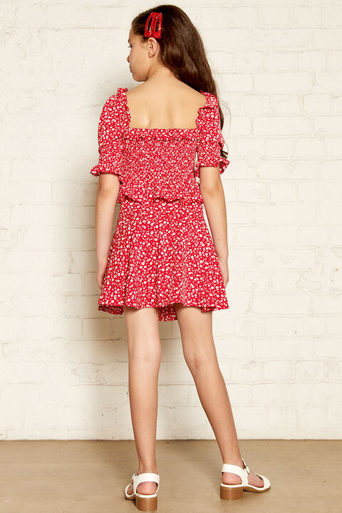 KYLIE LACE UP SKIRT in colour RIBBON RED
