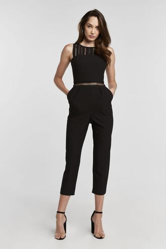 LACE TRIM JUMPSUIT in colour CAVIAR