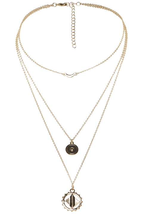 MEDALLION TRIPLE NECKLACE in colour GOLD EARTH