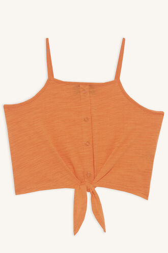 LIZA KNOT CAMI in colour MANDARIN RED