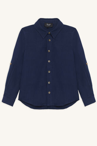 LINEN BEACH SHIRT in colour ESTATE BLUE