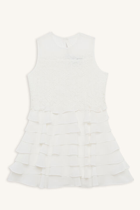 SIENNA TIERED DRESS in colour CLOUD DANCER