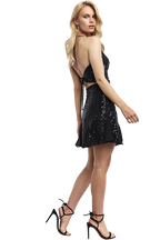 SEQUIN HALTER TOP in colour CAVIAR