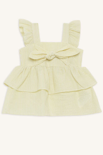 SHIRRED STRIPE TOP in colour PASTEL YELLOW
