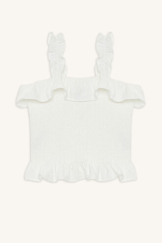 LOUIS SHIRRED TOP in colour CLOUD DANCER
