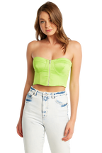 SATEEN BUSTIER in colour GREEN FLASH