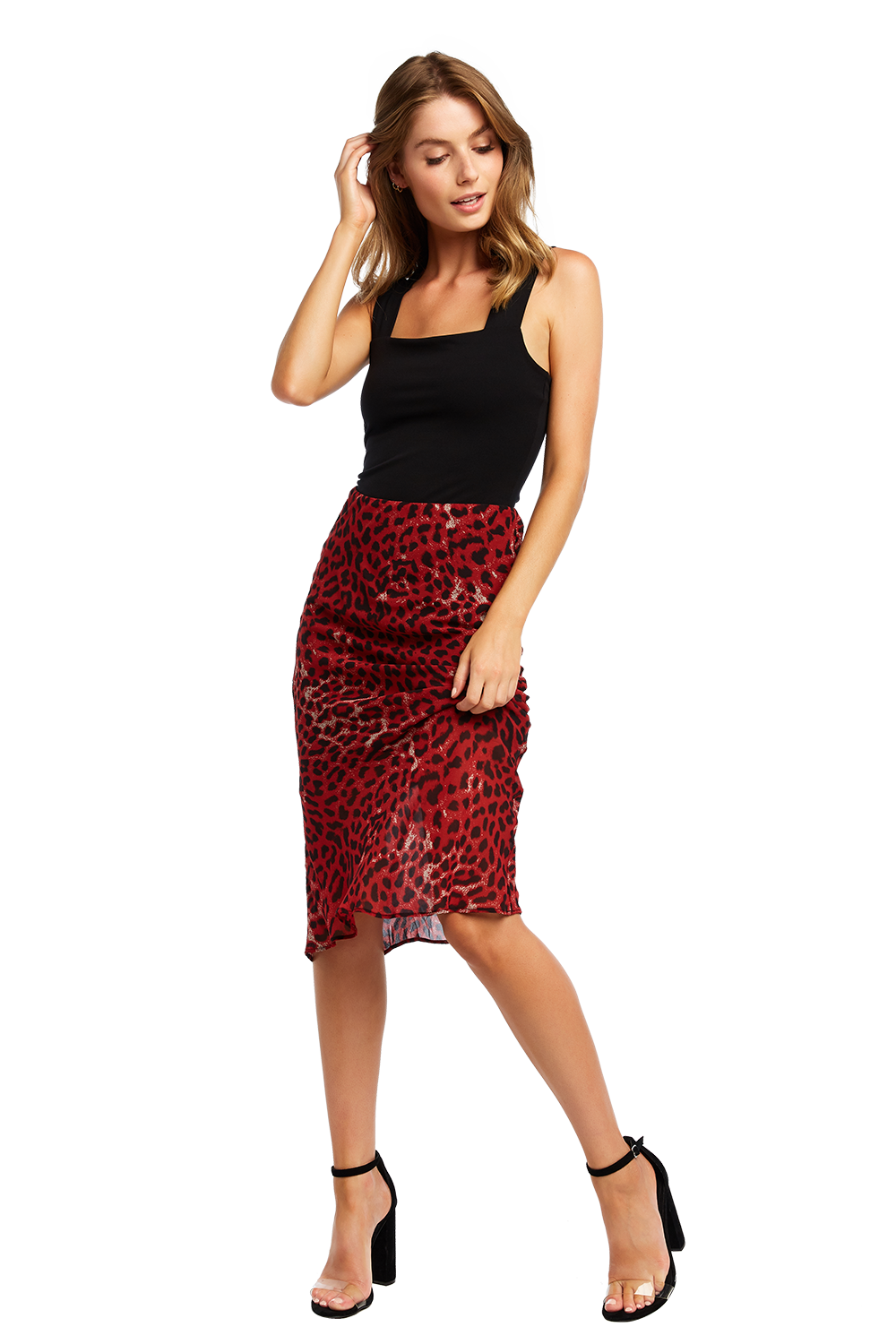 RED LEOPARD SKIRT in colour CHILI PEPPER
