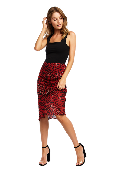 RED LEOPARD SKIRT