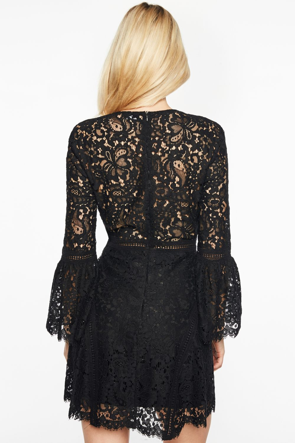 MIDNIGHT LACE DRESS in colour JET BLACK