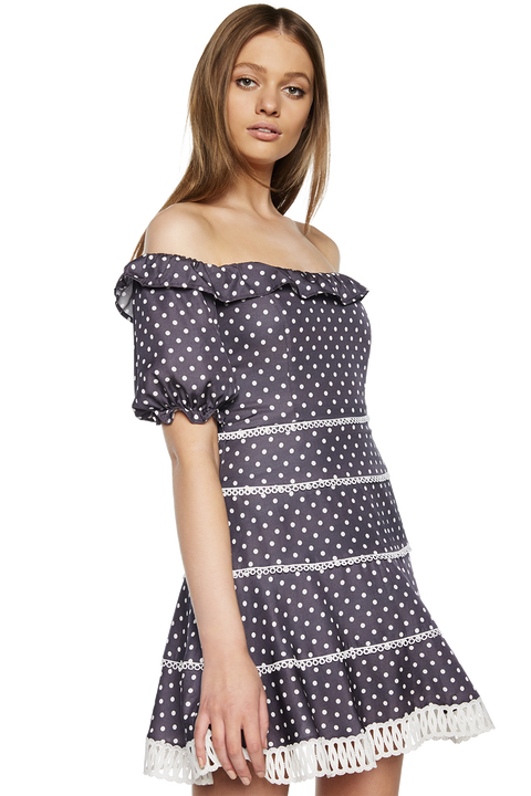 SPOTTY LACE DRESS in colour NINE IRON