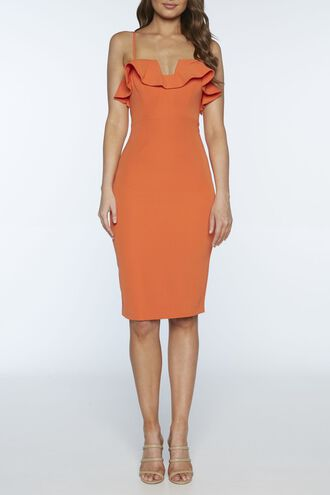 ROSSA FRILL DRESS in colour MANDARIN RED