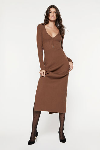 COLLAR KNIT DRESS in colour CHOCOLATE BROWN