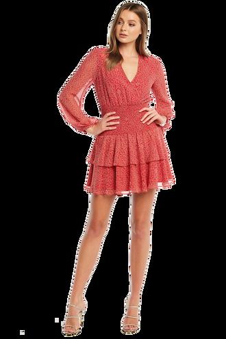 DITSY SHIRRED DRESS in colour SKI PATROL