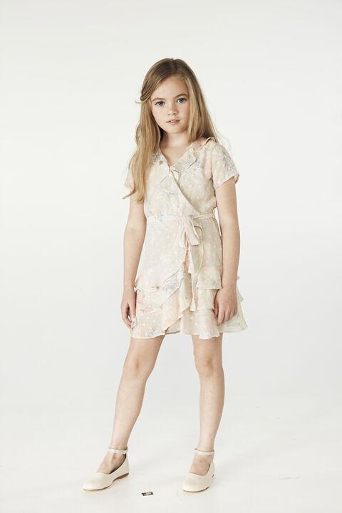 TWEEN GIRL LUELLA WRAP DRESS in colour BIRCH