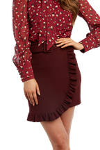 WINTER WRAP SKIRT in colour BURGUNDY
